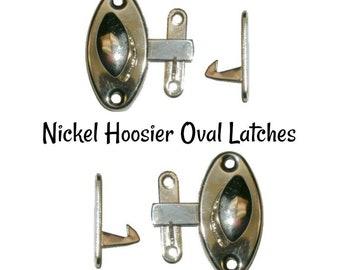 Nickel Latch - Nickel Plated Brass Hoosier Oval Style Cabinet Latch - Hoosier Cabinet
