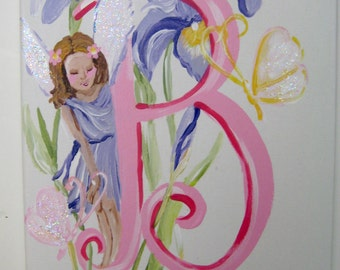 personalized name art,canvas letters,fairies,butterflies,flowers,pastel colors,garden theme,fairy decor,girls letters,girls wall art,name
