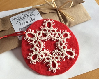 Tatted Lace Christmas Ornament Snowflake - READY TO SHIP - Hanging Holiday Gift - Winter Decorations - Handmade Decor - White Appliques -