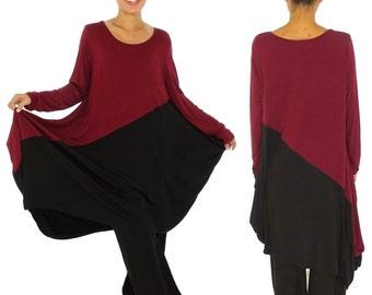HU700R tunic dress long tunic layered look asymmetrical Gr. 38-44 Bordeaux