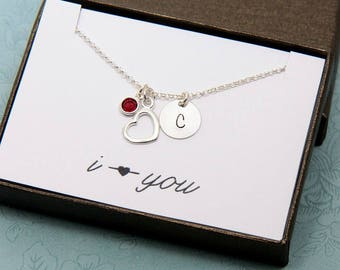 Initial Necklace, Personalized Necklace, Heart Necklace, Love Necklace, Gift for Her, Personalized Gift, Birthstone Necklace, Gift for Women