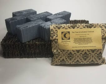 Tea Tree & Activated Charcoal Natural Handmade Soap 5 oz.