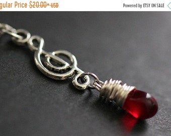MOTHERS DAY SALE Red Teardrop Necklace. Music Necklace. Treble Clef Necklace. Musical Note Necklace in Silver. Handmade Jewelry.