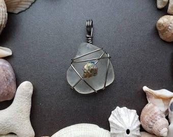 Pewter & citrine Lake Michigan beach glass pendant