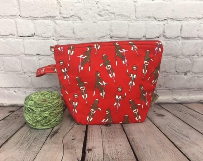 Sock Monkey w/ Full length pocket, Knitting project bag, Crochet project bag,  Zipper Project Bag, Yarn bowl, Yarn tote