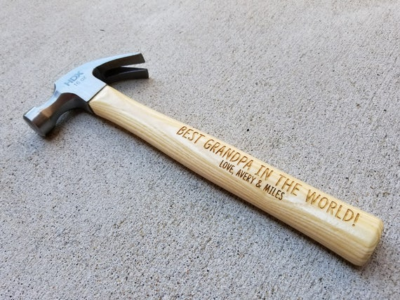 Personalized Wooden Hammer, Laser Engraved Hammer, Gift for Dad, Gift for Grandpa