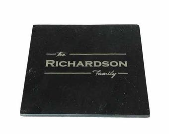 Natural Slate Coasters - Family Name Engraved - Pack of 4