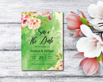 Save The Date Invitation, Watercolor Flowers, Spring Flower Invite, Summer, Editable PDF, Template, DIY, Printable, Instant Download E100A