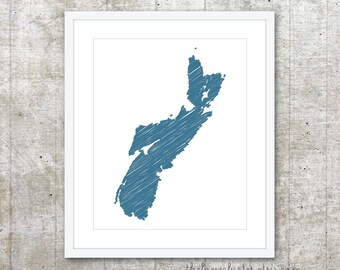 Nova Scotia Province Art Print - Custom Canadian Province Poster - Blue - Modern Minimalist Wall Art