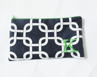 Large Navy Cosmetic Bag - Large Make up Bag - Monogrammed Cosmetic Bag - Bridesmaid Bags - Personalized Clutch - Large