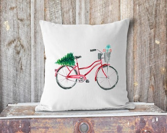 Red Christmas Bicycle Pillow