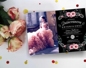 Floral Quinceanera invitation with/ without photo. Quinceanera Birthday Invitation, Quinceanera Invites,  Quinceanera party, Digital