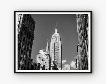 Architecture Print, Empire State Building Print, NYC Print, Architecture Poster, Black and White City Photography, Living Room Decor,