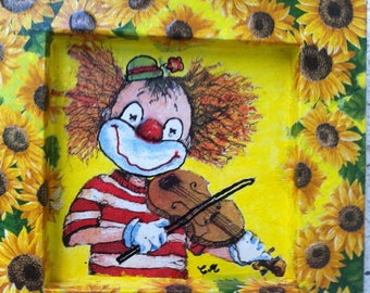 Painting of a beautiful clown for child's room