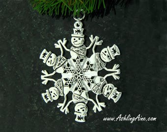 Celtic Snowman Snowflake Ornament, Irish Snowman, Shamrock Snowman, Irish ornament, Snowman , Celtic ornament Christmas Decoration