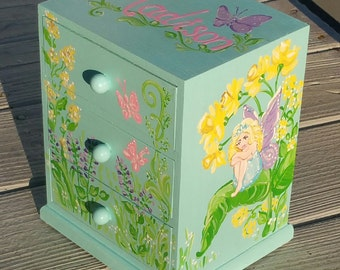 Blue faries  personalized jewelry box, pink and green ,flower girl gift, bridesmaid gift