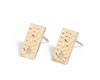 """10 support of stud earrings 12mm gold metal hammered rectangle """"flea"""" type"""