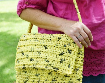 Crocheted Purse with Strap, made of Upcycled (repurposed) Plastic Bags, Plarn Bag,  Yellow and Black Handmade Shoulder Bag, On Sale Now
