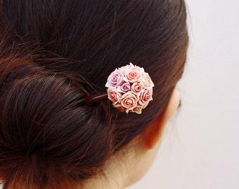 dust pink rose hair stick, hair accessories ,handmade flowers , vintage style