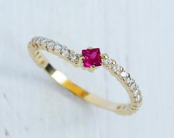 Ruby ring, Yellow gold ring, 14k engagement ring, Ruby ring gold, Ruby engagement ring, Fine ring gold, Delicate ring,Dainty engagement ring