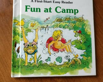 A First-Start Easy Reader, Fun at Camp by Sharon Peters vintage children's book with the first start easy reader basic word list.