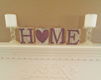 Country home decor - Home blocks - home shelf sitter - rustic decor blocks - mantle decor