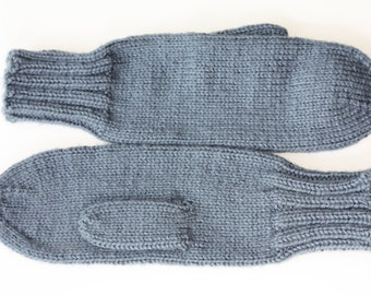 Adult Mittens - Blue Knit Mittens - Warm Mittens - Soft Mittens - Blue Mittens for Women - Ladies Mittens - Hand Knit Mittens - Country Blue