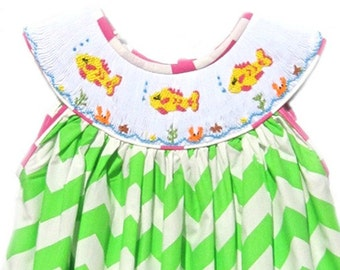 Hand Smocked Green Chevron Fish Dress