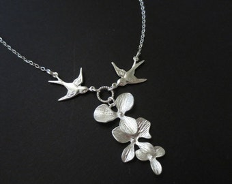 Orchid and Two Sparrow Birds lariat necklace in STERLING SILVER CHAIN-- Perfect Gift for mom, Birthday Present for best friend.