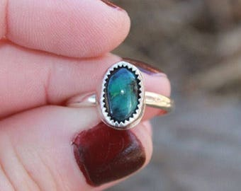 Serene Snowville variscite solitaire ring in sterling silver, size 7.5