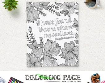 Coloring Page Printable Bible Verse Song Of Solomon 34 Instant Download Adult Pages Art Wedding Quote Digital
