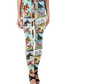 Paint By Number Horses Leggings - PBN western scenes - novelty leggings