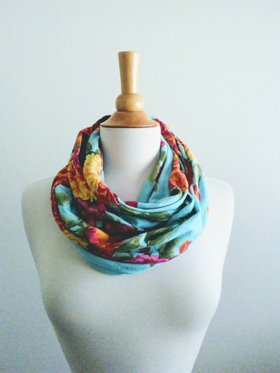 Floral infinity scarf aqua botanical print scarf pink flower circle scarf spring accessory gift for her aqua green scarf