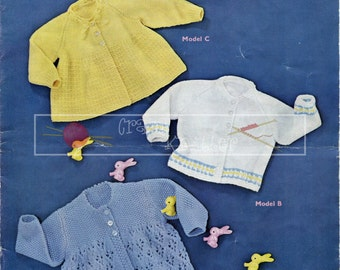 Baby Matinee Coats 6-12 month DK Sirdar 209 Vintage Knitting Pattern PDF instant download