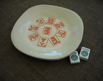 Bol de Mahjong - Mahjong poterie - bol Oriental - fait à la main poterie - poterie orientale - idée cadeau - Mahjong plat - Mahjong Party
