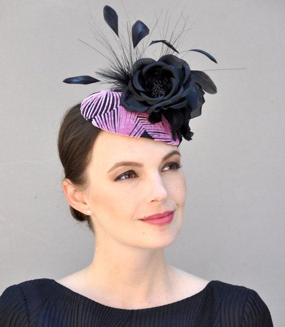 Wedding Fascinator, Kentucky Derby Fascinator Hat,  Formal Hat, Black and Pink Fascinator