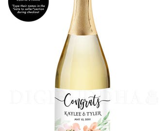 Congrats Newlyweds CHAMPAGNE LABEL Engagement Gift for Couples Engagement Party Champagne Bottle Personalized Champagne Labels - Kaylee
