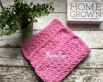 Handmade Crochet Kitchen Dish Cloths Pastel Pink Dishcloths Wash Cloths Eco Friendly Crochet Cotton Dishcloth Set of 3