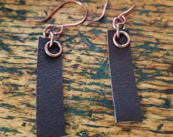 Copper and Leather Earrings