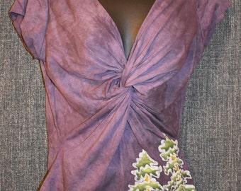 Women's Handmade Twist Short Sleeve Redwood Tree Batik Top