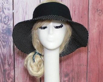Polka Dot Visor Sun Hat, Wide Brim Hat, Sun Visor, Boho Hat, Beach Hat, Summer Sun Hat, Sports Hat, Travel Hat