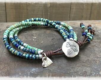 Beaded Wrap Bracelet/ Seed Bead Bracelet/ Boho Wrap Bracelet/ Seed Bead Leather Wrap Bracelet/ Gift For Her/ Bohemian Bracelet.