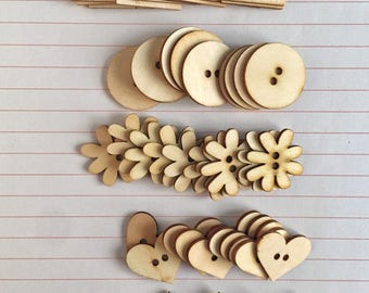 Natural Wood Veneer Buttons/Shapes: squares, circles, flowers, hearts, and stars. 50 total, 10 of each shape.