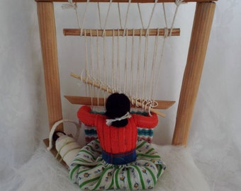 Navajo Weaver Native American Woman with Papoose on Cradle Board and Weaving Loom