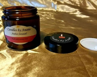 Amber sensual scented coconut wax candle