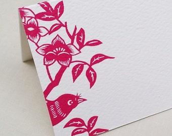 Magenta Bird Place Cards,Floral Place cards,Placecards,Hot Pink, Set of 12
