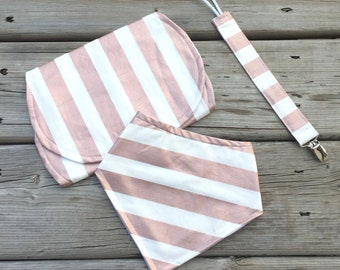 Baby Gift Set, Baby Shower Gift, Baby Bib, Burp Cloth, Soother Clip