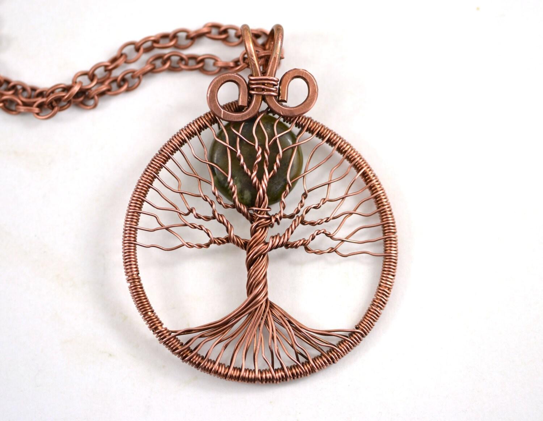 Baum des Lebens Halskette Vollmond Anhänger Kupfer verdrahtet