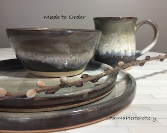 Dinnerware Custom Made Handmade Pottery Pottery Ceramics Stoneware Handmade & Ceramic dinner set | Etsy