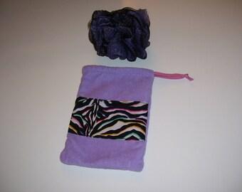 BATH MITT - purple & zebra bath mitt - zebra bath glove - purple bath glove
